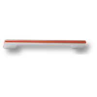 182160MP02PL09 Ручка скоба модерн, глянцевый хром с оранжевой вставкой 160 мм