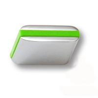 429025MP02PL13 Ручка кнопка модерн, глянцевый хром с зеленой вставкой