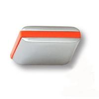 429025MP02PL09 Ручка кнопка модерн, глянцевый хром с оранжевой вставкой