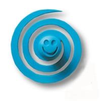 445025ST05 Ручка кнопка детская, червячок синий