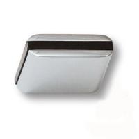 429025MP02PL15 Ручка кнопка модерн, глянцевый хром с коричневой вставкой