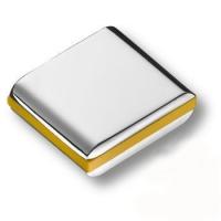 429025MP02PL08 Ручка кнопка модерн, глянцевый хром с желтой вставкой