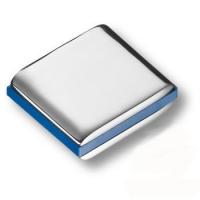 429025MP02PL12 Ручка кнопка модерн, глянцевый хром с синей вставкой