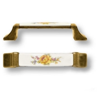 15.275.96.PO03.12 Ручка скоба керамика с металлом, цветочный орнамент античная бронза 96 мм