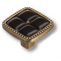 335025MP10PL16 Ручка кнопка современная классика с черной вставкой, старая бронза