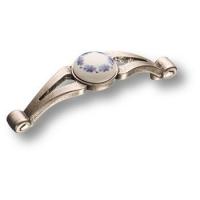 15.195.96 PO 17 16 Ручка скоба с керамической вставкой, античное серебро 96 мм