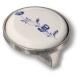15.348.32.PO01.16 Ручка кнопка керамика с металлом, синий цветочный орнамент античное серебро 32 мм