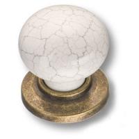 """3005-40-000-08 Ручка кнопка керамика с серой """"паутинкой"""", античная бронза"""