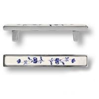 15.138.96.PO01.16 Ручка скоба керамика с металлом, синий цветочный орнамент античное серебро 96 мм
