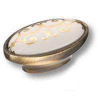 3000-40-000-212 Ручка кнопка керамика с золотым орнаментом, античная бронза