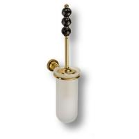 3504-71-320-3 Ёршик, латунь с 3-мя чёрными кристаллами Swarovski, цвет - глянцевое золото