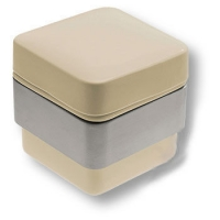 CPT01/CS-T Керамическая бежевая баночка с крышкой, цвет держателя - никель