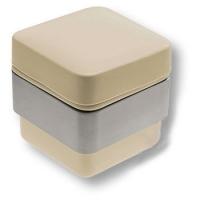 CPT01/CL-T Керамическая бежевая баночка с крышкой, цвет держателя - глянцевый хром