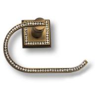 3514-75-013 Держатель для туалетной бумаги, латунь с кристаллами Swarovski, цвет - старая бронза