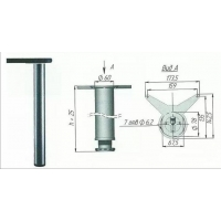 Опора регулируемая для стола/мат.никель/710мм
