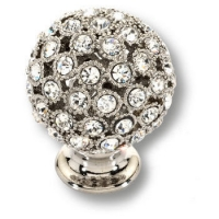 MOB 472 26 SWA 07 Ручка кнопка с кристаллами Swarovski, эксклюзивная коллекция, цвет-глянцевый хром