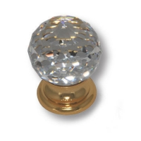 9932-100 Ручка кнопка с кристаллом Swarovski эксклюзивная коллекция, глянцевое золото