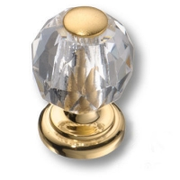 0737-030-MINI Ручка кнопка, латунь с кристаллом, глянцевое золото 24K