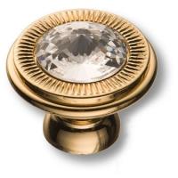 25.319.30.SWA.19 Ручка кнопка с кристаллом Swarovski эксклюзивная коллекция, глянцевое золото 24K