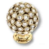 MOB 472 26 SWA 19 Ручка кнопка с кристаллами Swarovski,эксклюзивная коллекция, цвет-глянцевое золото