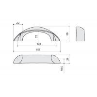 F106/E-CR Ручка-скоба 128мм, отделка хром глянец