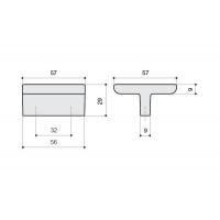 24206E0572A.32 Ручка-скоба 32мм, отделка никель глянец + тёмно-коричневый (кайман)