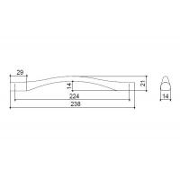 F105/G-CM Ручка-скоба 224мм, отделка сталь шлифованная