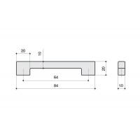 F102/C-CM Ручка-скоба 64мм, отделка сталь шлифованная