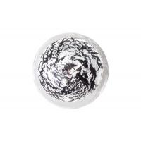 24EM.009045.NA Ручка-кнопка из стекла, отделка фольга чёрная + серебро