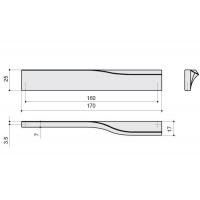 F120/SX-CR Ручка-скоба 160мм левая, отделка хром глянец