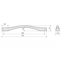 F105/F-CM Ручка-скоба 160мм, отделка сталь шлифованная