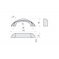 F106/D-CR Ручка-скоба 96мм, отделка хром глянец