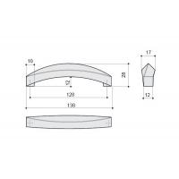 F107/E-CM Ручка-скоба 128мм, отделка сталь шлифованная