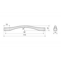 F105/D-CM Ручка-скоба 96мм, отделка сталь шлифованная