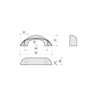 F106/C-CR Ручка-скоба 64мм, отделка хром глянец