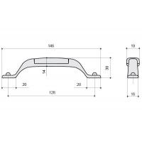 M12.15.00.44 Ручка-скоба 128мм, отделка железо чернёное с лазуритом + керамика голубая