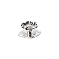 """23806.R140 Ручка-кнопка """"Афина"""" с накладкой, отделка серебро"""