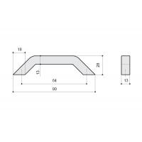 F103/C-CR Ручка-скоба 64мм, отделка хром глянец