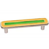 15064Z0960B.Y32 Ручка-скоба 96мм, отделка никель глянец + жёлтый+зелёный