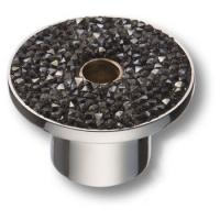 STONE16/CP-SW/A Ручка кнопка c серебряными кристаллами Swarovski, цвет покрытия - хром 16 мм