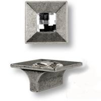 15.326.32.SWA.16 Ручка кнопка с кристаллом Swarovski эксклюзивная коллекция, античное серебро 32 мм