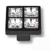MT8136B-531E Ручка кнопка с кристаллами эксклюзивная коллекция, черный матовый