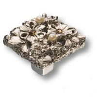 """20.35 MO 07 Ручка кнопка""""Petit Bouquet"""" эксклюзивная коллекция, глянцевое серебро"""