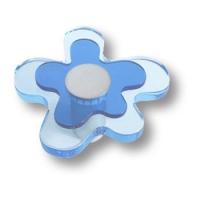 678AZ Ручка кнопка детская, цветок голубой