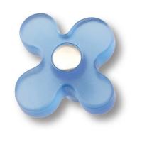 608AZ Ручка кнопка детская, цветок голубой