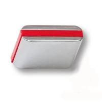429025MP02PL17 Ручка кнопка модерн, глянцевый хром с красной вставкой