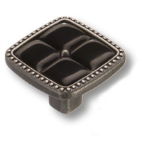 335025MP14PL16 Ручка кнопка современная классика с черной вставкой, старое серебро