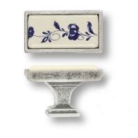15.361.00.PO01.16 Ручка кнопка керамика с металлом, синий цветочный орнамент античное серебро