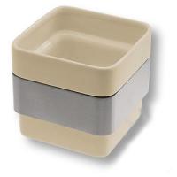 CPT02/CS-T Керамическая бежевая баночка без крышки, цвет держателя - никель