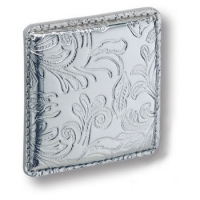 1003.0070.021.173 Ручка кнопка эксклюзивная коллекция, серебряная кожа с растительным орнаментом